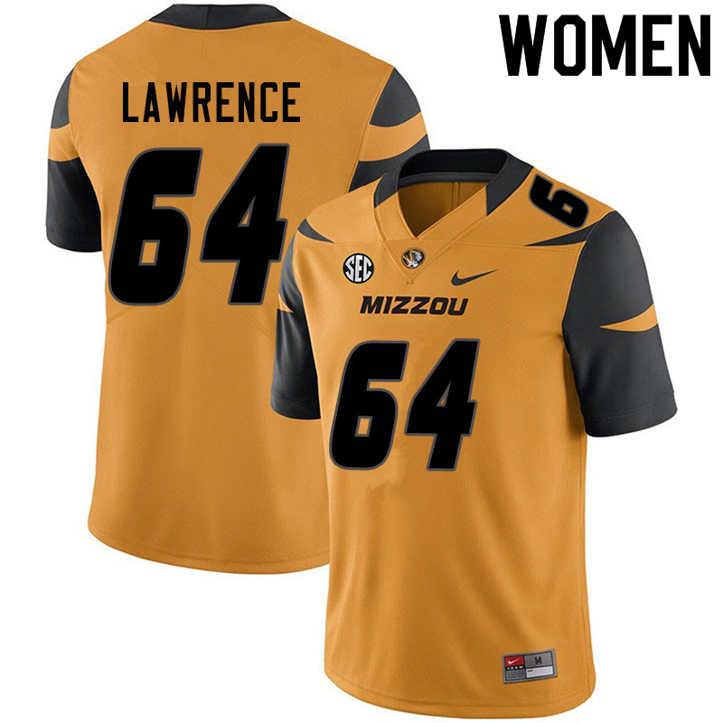 Women #64 Bobby Lawrence Missouri Tigers College Football Jerseys Sale-Yellow